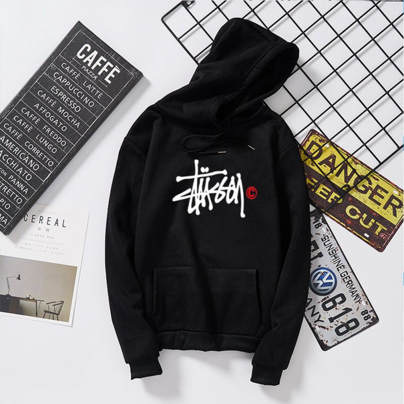 Men Women Autumn Winter Hooded Loose Printing All Match Fleece Sweatshirts Top for Students black_2XL
