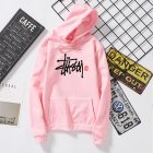 Men Women Autumn Winter Hooded Loose Printing All Match Fleece Sweatshirts Top for Students Pink_XL
