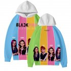 Men Women Blackpink Girls 3D Digital Printing Fashion Casual Hoodie Long-Sleeve Pullover Tops with Hood Style E_XXL