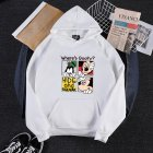 Men Women Cartoon Hoodie Sweatshirt Micky Mouse Thicken Autumn Winter Loose Pullover White_L