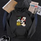 Men Women Cartoon Hoodie Sweatshirt Micky Mouse Thicken Autumn Winter Loose Pullover Black_XXL