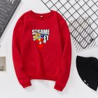 Men Women Cartoon Printing Round Neck Pullover Fleece Sweatshirts red_XL