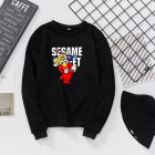 Men Women Cartoon Printing Round Neck Pullover Fleece Sweatshirts black_S