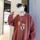 Men Women Cartoon Sweatshirt Tom and Jerry Crew Neck Printing Loose Pullover Tops Red_M