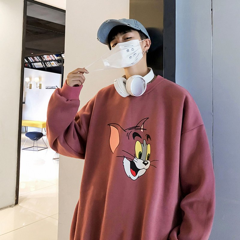 Men Women Cartoon Sweatshirt Tom and Jerry Crew Neck Printing Loose Pullover Tops Red_XL