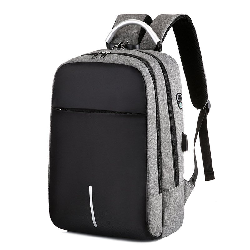 Men Women Charging Anti-theft Computer Bag Backpack Bag Lock Multi-function Backpack Travel School Bag gray