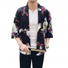 Men Women Classic Shirts Three Quarter Sleeve Pattern Printing Thin Blouse  8892 black_S