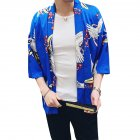 Men Women Classic Shirts Three Quarter Sleeve Pattern Printing Thin Blouse  8892 blue_M
