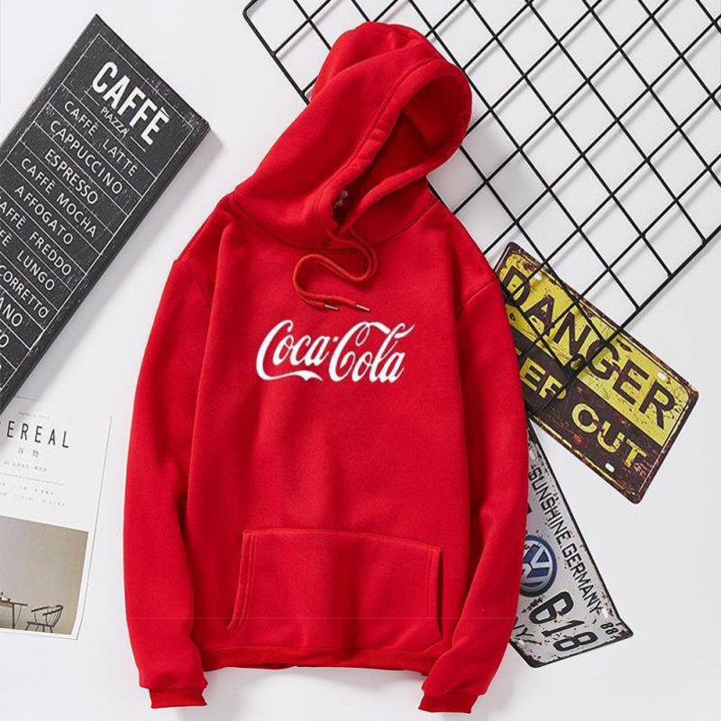 Men Women Coca-Cola Hoodies Retro Casual Fashion Sweatshirts Red 995#_L