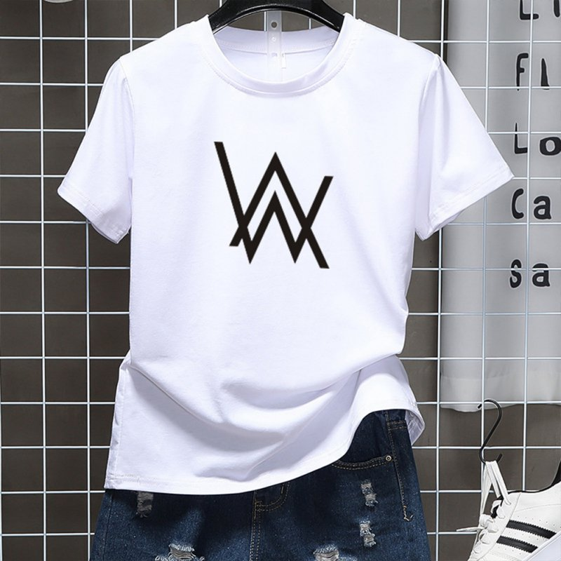 Men Women Couple Fashion Letter Printing Round Neck Short Sleeve T-Shirt  white_L