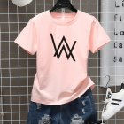 Men Women Couple Fashion Letter Printing Round Neck Short Sleeve T Shirt  pink M