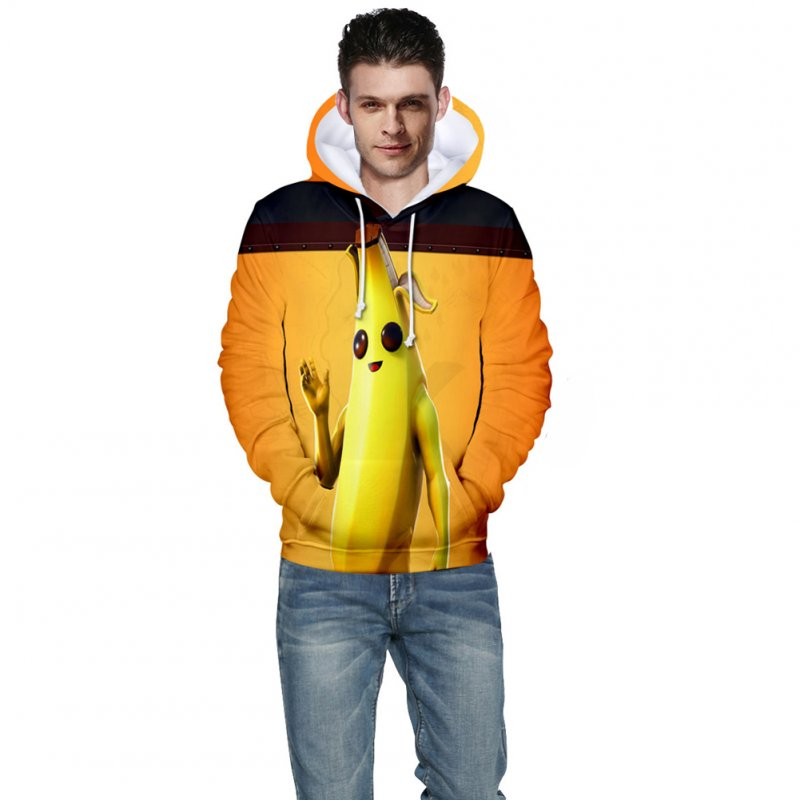 Men Women Couple Vivid Color Cartoon Banana 3D Printing Casual Hoodies B style_S