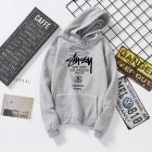 Men Women Couples Cool Stylish Letter Printing Long Sleeve Casual Sports Fleece Hooded Sweatshirts gray_XXXL