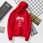 Men Women Couples Cool Stylish Letter Printing Long Sleeve Casual Sports Fleece Hooded Sweatshirts red_XL