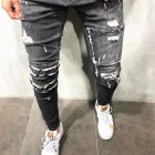 Men Women Elastic Waist Broken Hole Slim Jeans Pencil Pants gray_XXXL