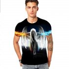 Men Women Fashion 3D Angel Printing Casual Short Sleeve T-shirt Photo Color_L