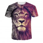 Men Women Fashion 3D Tiger Digital Printing T-shirt Round Neck Short Sleeve Tops NA325_XL
