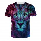Men Women Fashion 3D Tiger Digital Printing T-shirt Round Neck Short Sleeve Tops NA327_XL