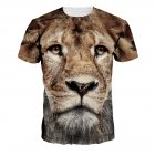 Men Women Fashion 3D Tiger Digital Printing T-shirt Round Neck Short Sleeve Tops NA199_XL