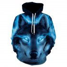 Men/Women Fashion 3D Wolf Pattern Hoodie Fashionable Hip Hop Hooded Pullover Sweatshirts WE148_M