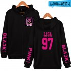 Men Women Fashion Black Pink Series Printing Zipper Hooded Long Sleeve Sweatshirts B black M