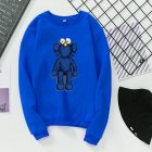 Men Women Fashion Cartoon Long Sleeve Fleece Round Collar Sweatshirts blue_L