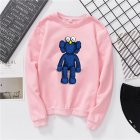 Men Women Fashion Cartoon Long Sleeve Fleece Round Collar Sweatshirts Pink L