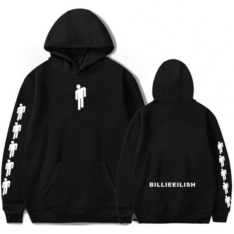 Men Women Fashion Casual Cartoon Pattern Printing Billie Eilish Hoodie Pullover black_XXL