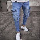 Men Women Fashion Elastic Zipper Broken Hole Jeans Pencil Pants Light blue_L