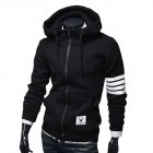 Men Women Fashion Hooded Shirts Stripes Pattern Long Sleeve Slim Coats  black_L