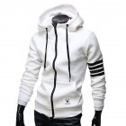 Men Women Fashion Hooded Shirts Stripes Pattern Long Sleeve Slim Coats  white_XL