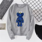 Men Women Fashion Loose Long Sleeve Cartoon Fleece Round Collar Sweatshirts gray_L