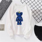 Men Women Fashion Loose Long Sleeve Cartoon Fleece Round Collar Sweatshirts white_L