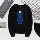 Men Women Fashion Loose Long Sleeve Cartoon Fleece Round Collar Sweatshirts black_S
