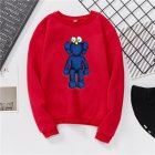 Men Women Fashion Loose Long Sleeve Cartoon Fleece Round Collar Sweatshirts red_XL