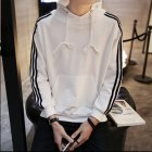 Men Women Fleece Lined Autumn Winter Sportswear 3 Fringes Long Sleeve Casual Jacket  white L