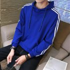 Men Women Fleece Lined Autumn Winter Sportswear 3 Fringes Long Sleeve Casual Jacket  blue XXL