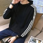 Men Women Fleece Lined Autumn Winter Sportswear 3 Fringes Long Sleeve Casual Jacket  black_XL