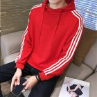 Men Women Fleece Lined Autumn Winter Sportswear 3 Fringes Long Sleeve Casual Jacket  red_M