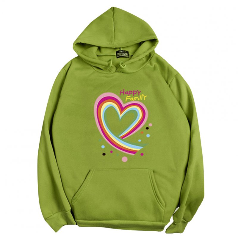Men Women Hoodie Sweatshirt Happy Family Heart Loose Thicken Autumn Winter Pullover Tops Green_XL