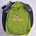 Men Women Hoodie Sweatshirt Tom and Jerry Cartoon Thicken Loose Autumn Winter Pullover Tops Green XL