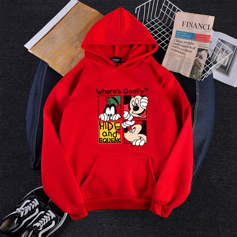 Men Women Hoodie Sweatshirt Micky Mouse Cartoon Thicken Autumn Winter Loose Pullover Red_XL