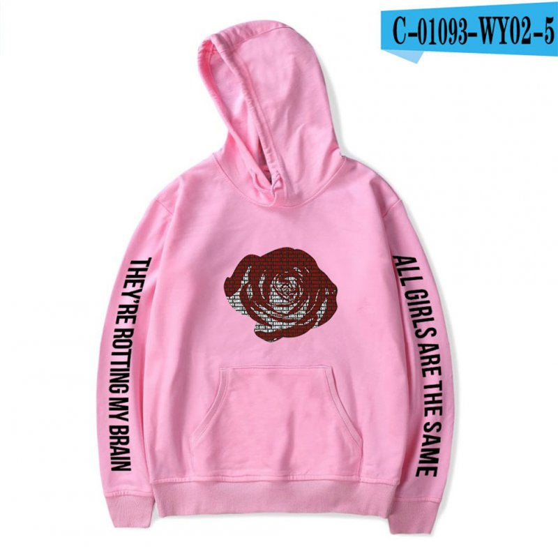 Men Women Hoodie Sweatshirt Juice WRLD Printing Letter Loose Autumn Winter Pullover Tops Pink_M