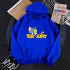 Men Women Hoodie Sweatshirt Thicken Velvet Tom and Jerry Loose Autumn Winter Pullover Tops Blue_L