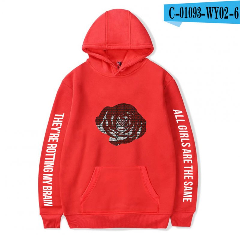 Men Women Hoodie Sweatshirt Juice WRLD Printing Letter Loose Autumn Winter Pullover Tops Red_S