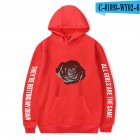 Men Women Hoodie Sweatshirt Juice WRLD Printing Letter Loose Autumn Winter Pullover Tops Red_M
