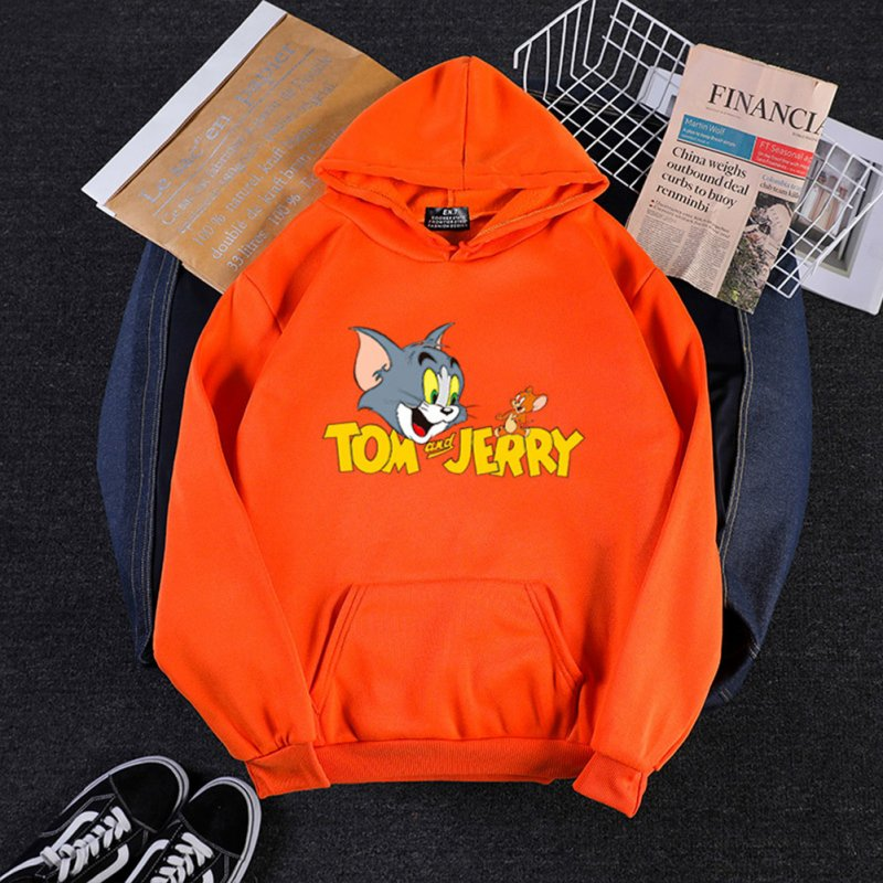 Men Women Hoodie Sweatshirt Tom and Jerry Cartoon Thicken Loose Autumn Winter Pullover Tops Orange_M