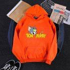 Men Women Hoodie Sweatshirt Tom and Jerry Cartoon Thicken Loose Autumn Winter Pullover Tops Orange XXXL