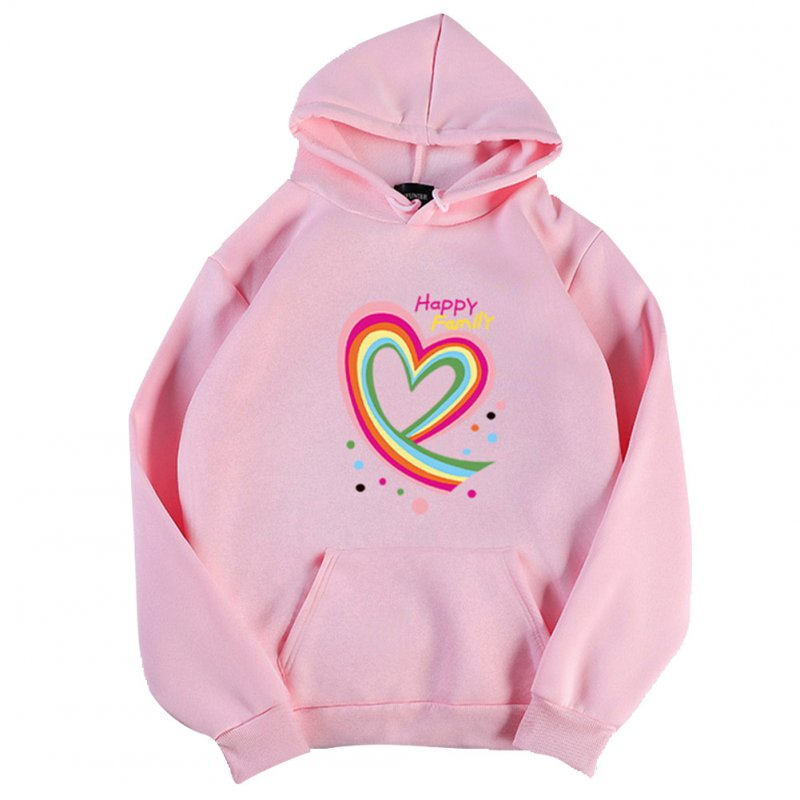 Men Women Hoodie Sweatshirt Happy Family Heart Loose Thicken Autumn Winter Pullover Tops Pink_M