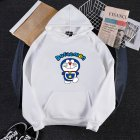 Men Women Hoodie Sweatshirt Doraemon Cartoon Loose Thicken Autumn Winter Pullover Tops White_L
